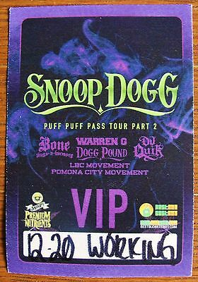 SNOOP DOGG ~ Puff Puff Pass Backstage Pass 2016 Tour - Soft Patch