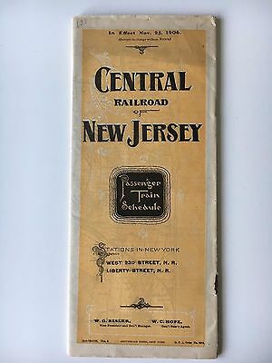 Central Railroad of New Jersey Passenger Train Schedule November 25, 1906