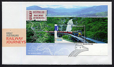 2010 Great Railway Journeys Minisheet FDC First Day Cover Stamps Australia