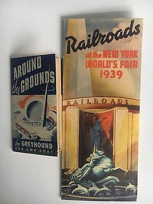 Lot (2)1939 NY World's Fair Brochures Greyhound Around the Grounds and Railroads