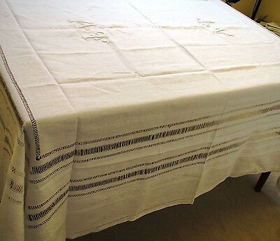 Antique TABLECLOTH LINEN French White MONOGRAM A T Embroidered Pulled Threadwork