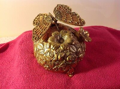 Vintage Westland Music Box Ornate Brass Butterfly Working Floral Flower