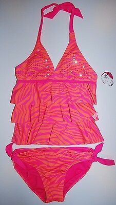 NWT girls Justice 2 piece swimsuit size 14- cute!