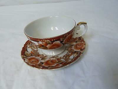 Vintage Beautiful Hand Painted Floral Tea Cup and Saucer Set
