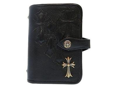 Authentic Chrome Hearts Leather Black Handbook cover 0182