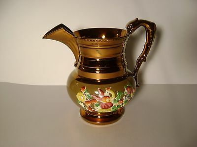 Vintage Copper Lusterware Relief Floral Pattern Pitcher