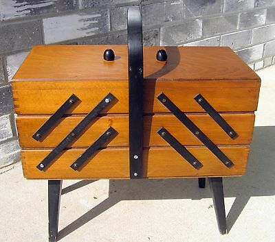 VINTAGE~ACCORDION~SEWING CABINET WOOD~CORNERS~BOX~FOLDING~STAND Poland!