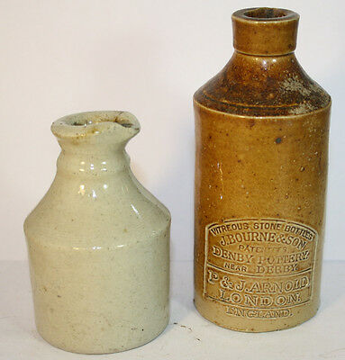 Two Nice Small Size  Stoneware Inks With Pouring Spouts One Is A Bourne