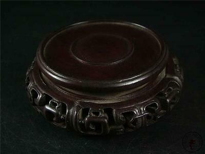 Antique Old Chinese Rosewood Carved Presentation Display Stand Base ROUND STYLE