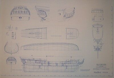 """Raleigh 32 gun Continental Frigate Admiralty Drawings 1/8"""" sc. by Harold Hahn"""