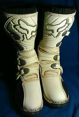 FOX BMX MOTOCROSS FORMA PRO Jr. MOTORCYCLE BOOTS SIZE 7 (05013-217-069)  WHITE
