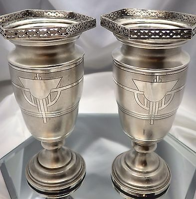 """Pair Of Ornate Art Deco Sterling Silver Vases ~ 10.63 Troy Ounces & Over 6"""" Tall"""