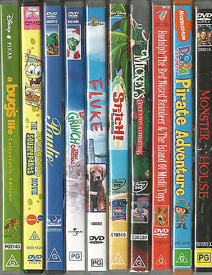 10 x CHILDRENS  DVD's.... Region 4 in used Good Condition ( Lot # 3 )