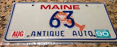 1990 Maine TWO DIGIT License Plate Tag ANTIQUE AUTO 63 Wow! Low Number