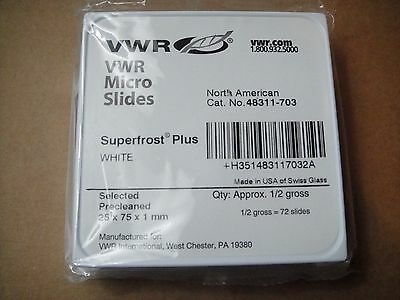 New pack VWR White Superfrost Plus precleaned 25x75x1mm micro slides 48311-703