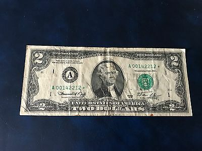1976 $2 Dollar Bill Federal Reserve Star Note District 1 Boston