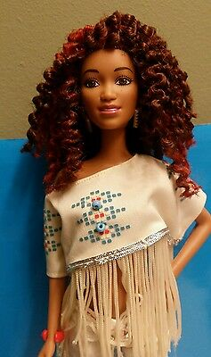 BEAUTIFUL OOAK ETHNIC FASHIONISTA  BARBIE with twist out style !
