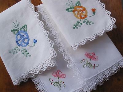 Four Vintage Table Napkins Hand Embroidered Crochet/Lace Edge