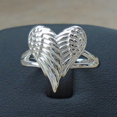 Heart Love 925 Sterling Silver Angel Wings Ring Size 9 Solid Hallmark No Sto New