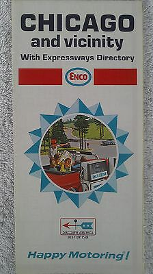 Vintage 1968 ENCO HUMBLE OIL /  CHICAGO and Vicinity Fold Out Road Map