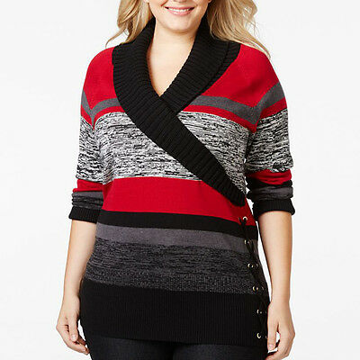 STYLE & CO. $56 NEW 2620 Shawl Collar Striped Womens Sweater Top 3X