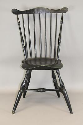 A Very Fine 18Th C Connecticut Fan-Back Windsor Side Chair Old Black Paint 2/2