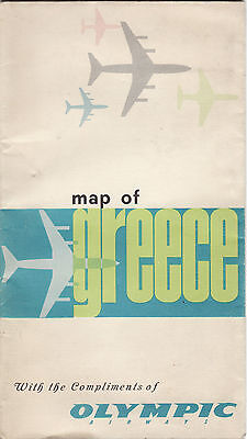 Vintage Olympic Airways Ailines Greece Domestic Route Map 1970s'