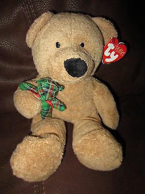 "Ty Pluffies Christmas Bear Beary Merry 10"" Tall Holding Green Plaid Bear"