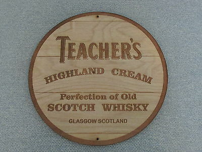 "Teachers Scotch Whiskey 12"" Round Wood Barrel Cask Top Style Sign"