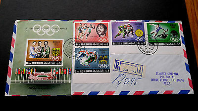 """Rare Uae Ras Al Khaima 1969 """"Imperf"""" Stamps Olympic Games Postaly Used Fdc Cover"""