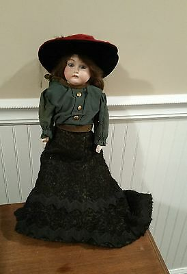 """Vintage German Doll Am 2 Dep 3200 Bisque Doll With Leather Body 18"""" Excellent"""