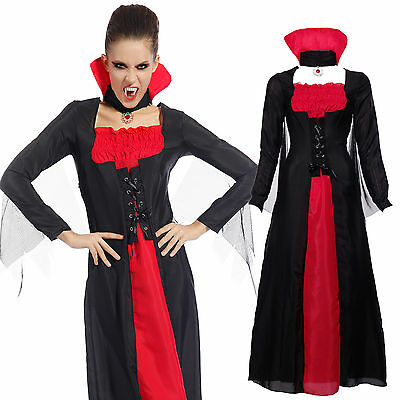 Carnevale Cosplay Costume Donna da Vampiro Evil Regina Fancy Dress Nero Rosso