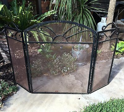 Large Vintage Wrought Iron Fire Screen Heavy Metal Fire Surround