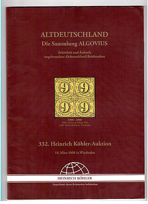 Heinrich Koehler 2008 Stamps Auction Catalog, The Algovius Collection !!