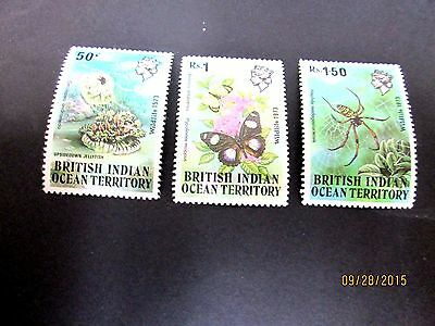 British  Indian Ocean Terr.1973 Marine Life, Butterfly & Spider (3) Complete Mlh
