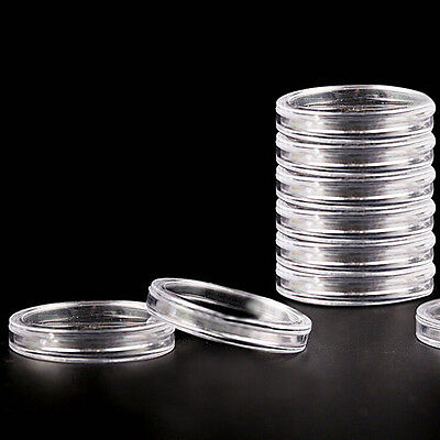 10X40mm Applied Clear Round Case Coin Storage Capsules Holder Plastic Reusable h