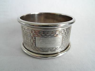 Vintage Silver Napkin Ring Hm 1964 Engined Design Gleaming No Initials