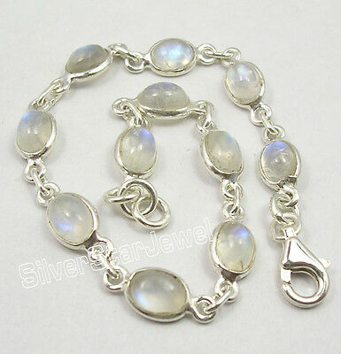 "925 Sterling Silver Fiery RAINBOW MOONSTONE Cute Delicate Bracelet 7.5"" Inches"