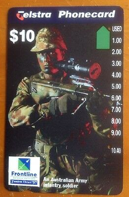 Telstra Phonecard, $10 Frontline, Australian Army Infantry soldier, Used, Rare,