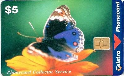 Telstra Phonecard, $5 Blue Argus Butterfly, chip, smartcard,  Rare, Used, Austra