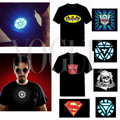 Fashion Sound Activated LED Light Up T-Shirt Music Flash EL Disco Rave Party Tee