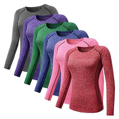Womens Gym Sports Quick Dry Shirt Yoga Top Workout Fitness Long Sleeve T-Shirt