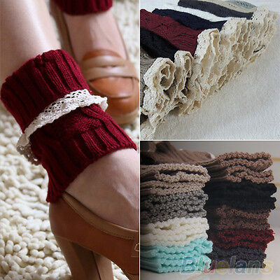Women's Knitted Lace Trim Toppers Cuffs Liner Leg Warmers Boot Socks Novelty