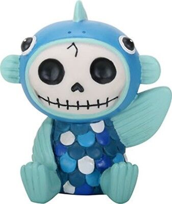 FurryBones Fishgerald Figurine Different Skull Skeleton Cute Gothic Blue Fun New