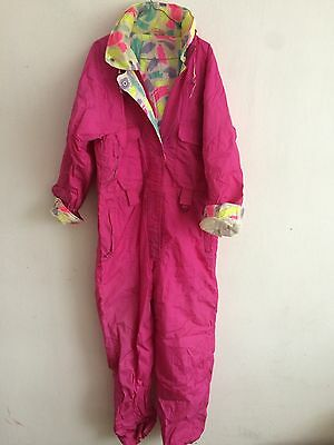 Vintage neon ski suit oldschool pink 44 multicoloured