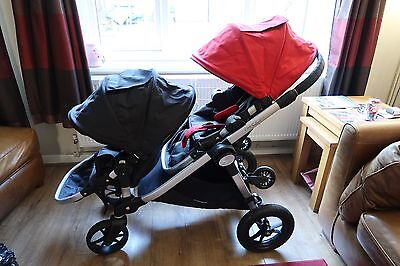 City Select Baby Jogger Double Seat Stroller Red and Black