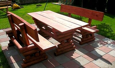 HQ Garden Furniture Patio Set, Table, 2 Benches, Solid Real Wood. Made of logs