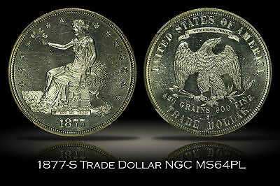 1877-S Trade Dollar NGC MS64PL Stunning Proof Like Rare w/ PL Designation VIDEO