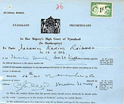 1956 Nyasaland High Court Document with Bft:20 1d Green.Attractive Revenue Item.