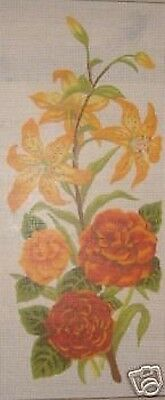 Lilies and Begonias Flower Panel Tapestry Needlepoint Canvas